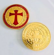 Knights Templar Medallion Poker Guard Card Holder Red Cross Challenge Coin