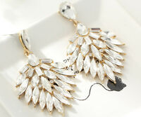 1 pair Elegant White Crystal Rhinestone  Ear Drop Dangle Stud long  Earrings 46