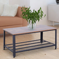 2 Tier Retro Industrial Style Rectangular Coffee Table Wood Side Table