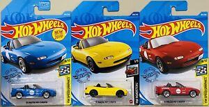 Hot Wheels '91 Mazda MX-5 Miata Lot Of 3 blue yellow red