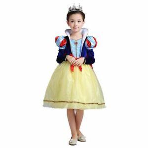 Girls Snow White Princess Dress Kids Summer Turtleneck Cape Cosplay Dress