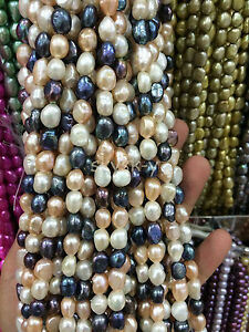 """NATURAL 8-9MM Black White pink Baroque Real Cultured pearls Loose Beads 14"""" AA"""