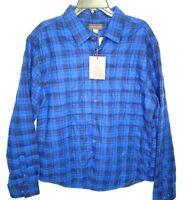 Thomas Dean Mens Medium Bright Blue Plaid Quilted Lightweight Shirt Jacket