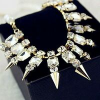 Hot Buy Real 9KT Gold Filled Rhinestone Spike Chain Necklace