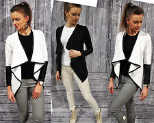 LADIES TRENDY CARDIGAN Quilted Jacket Art Leather Arms Asymmetric NEW S M L XL (