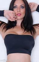 BLACK Boob Tube TOP Lycra Womens STRAPLESS Bra Vest CROP Stretch BANDEAU Club BM