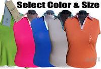 IZOD Knit Golf/Tennis Cotton Sleeveless Plaid Collar Women's Polo Shirt Top $34