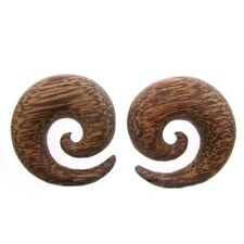 PAIR COCONUT WOOD 5/8 INCH (16MM) SPIRALS PLUGS COCO WOOD TALONS SPIRAL