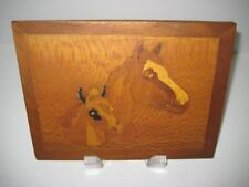 """8"""" x 6"""" Natural Wood """"Thoroughbreds"""" Inlay Marquetry Picture Handmade In Ozarks"""
