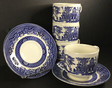 Churchill England Blue Willow Tea Cup And Saucer Sets Blue and White Lot of 4