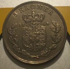 1968 Denmark 5 Kroner  copper coin  very high grade