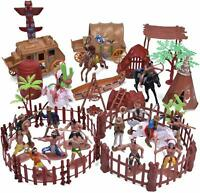 Toy 61 PCs Wild West Cowboys and Indians Plastic Figures Soldiers for,Boy's Kids
