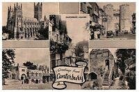 Greetings from Canterbury England Vintage Black & White Postcard