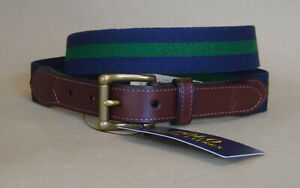 NWT $75 POLO RALPH LAUREN Mens 42 / 105 LEATHER TRIM STRETCH BELT Navy Forest