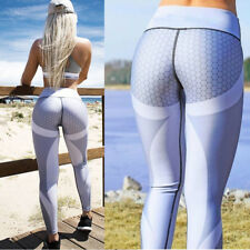 Women Honeycomb Print Gym Yoga Leggings Fitness Running Pencil Pants Trousers UK