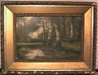 Landscape Antique Oil Painting Andrew Millrose 19thc