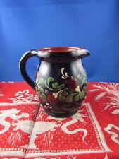 ancienne poterie emaillee decor de fleurs pichet vase