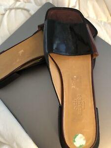 Ladies Hermes Black Patent Slides. Size 7.5.  Fabulous Shoes.