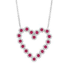14K White Gold Ruby Diamond Heart Pendant Necklace Natural Round Cut 1.34 TCW