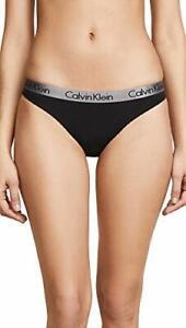 Calvin Klein Underwear Women's Radiant Cotton Thong, Black, Large