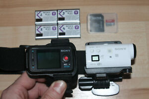 Sony HDR-AZ1VR Action Camera White Four (4) Batteries and 64 GB microSD card