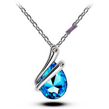 Beautiful 18K White Gold Plated Tear Drop Crystal Pendant Necklace NF62