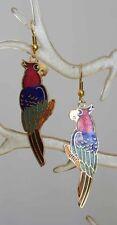 Colorful Genuine Cloisonne Enamel Parrot Pierced Earrings 1970s vintage