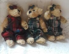 """3 -1990 Boyds 6"""" Girls Bears - Plaid Outfits vg"""