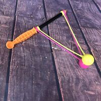 Vintage 80s Clicker Clacker Klik Klak Noise Maker Toy Neon Orange Pink Yellow