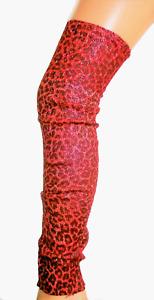 VINTAGE RED LEOPARD ANIMAL PRINT LUREX SPARKLY LEGWARMERS LEG WARMERS 80'S GYM