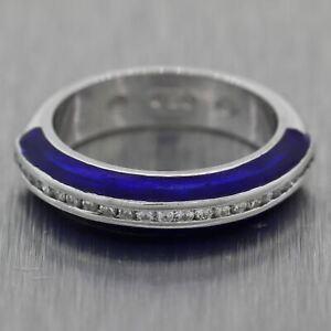 Hidalgo 18k White Gold 0.46ctw Blue Enamel & Diamond Band Ring