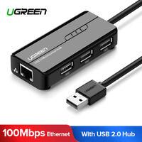 Ugreen Ethernet USB Hub 3 Ports USB 2.0 Hub with RJ45 Port Lan Network Adapter
