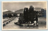 Geneva Switzerland Geneve Rousseau et Mt. Blanc Vintage Photo Postcard A91