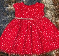 GIRLS 18 MONTHS GORGEOUS THICK LAYERED RED MESH DRESS MARMELLATA GLITTER NEW NWO