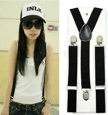 Black Clip-on Adjustable Unisex Pants Y-back Suspender Braces Elastic Belt US
