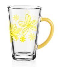 6 Latte Macchiato Gläser 300ml Gelbe Blumen Teegläser Kaffeegläser Milchkaffee