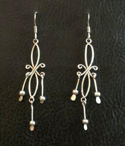 """Sterling Silver Earrings Chandelier Twist Marquise Wire Stick 2.3"""" 2g 925 #1825"""