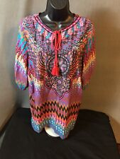 NLW ZAPA WOMAN BLOUSE LOTS COLORS SIZE M MEDIUM Tunic PINK TASSLES N L W TOP