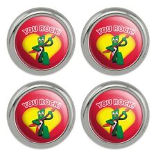 Gumby with Guitar You Rock Heart Metal Craft Sewing Novelty Buttons - Set of 4