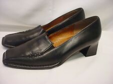 "LADIES 7.5 GABOR BLACK LEATHER LOAFER STYLE 2"" CHUNKY HEELS EUC"