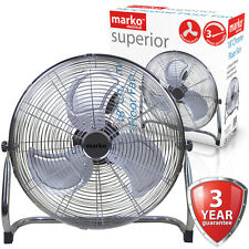 "18"" Chrome Floor Fan High Velocity Portable Air Cooling 3 Speed Tilting Electric"