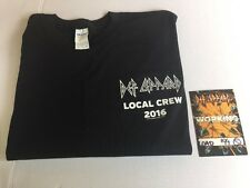 DEF LEPPARD LOCAL CREW 2016 CONCERT TOUR T-SHIRT XL with backstage pass NEW