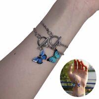 Boho Stainless Steel Blue Butterfly Bohemia Women Bracelet Bangle Sandals Beach