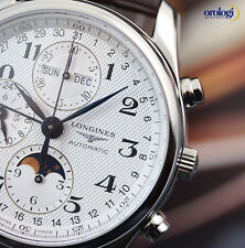 Longines Men's Master Collection Chronograph Calendar MoonPhase Steel on Leather