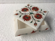 "4""x4""x2"" White Marble Trinket Jewelry Ring Box Art Wedding Gift Home Decor H3518"
