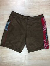 Tapout Mens Size 38 Brown / Red Draw String 100% Polyester Training MMA Shorts