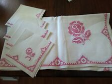 Vintage Hand Embroidered Card Tablecloth & Napkins Cross Stitch SET PINK & WHITE