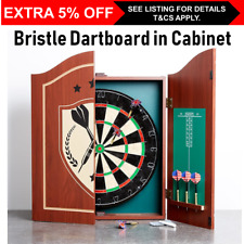 Bristle Dart Board In Wooden Cabinet Pub Scoreboards Dartboard 2 Darts Game Play