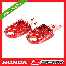 FOOTPEGS STD HONDA CR 125 CRF 150 250 450 CRF250R CR-F RED FOOT PEGS REST SCAR