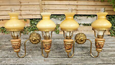 More details for vintage pair of mid 20th century italian double faux oil lamp wall lights